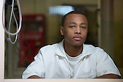 Scottie Louis Forcey, 21, is photographed at the Barry B. Telford Unit in New Boston, Texas on July 2, 2013. Forcey is serving a life sentence without parole for a murder committed when he was 16. (Cooper Neill / for The Texas Tribune)