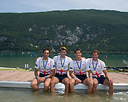 Aiguebelette, FRANCE.   GBR M4X Gold Medallist left. Charles COUSINS, Graeme THOMAS, Sam Townsend and Peter LAMBERT.  2014 FISA World Cup II, 13:02:15  Sunday  22/06/2014. [Mandatory Credit; Peter Spurrier/Intersport-images]