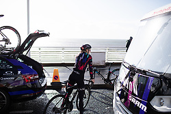 Hannah Barnes (GBR) of CANYON//SRAM Racing prepares for the ASDA Tour de Yorkshire Women's Race 2019 - Stage 2, a 132 km road race from Bridlington to Scarborough, United Kingdom on May 4, 2019. Photo by Balint Hamvas/velofocus.com