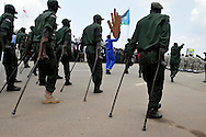 Wounded and handicapped SPLA veterans parade in front of dignitaries at the official independence day ceremony. After decades of conflict, Southern Sudan declared independence from the North on July 9th, 2011. Government officials, foreign dignitaries and ordinary people came to the John Garang Memorial in the capital from all over the country and the world to celebrate the historic occation..Juba, South Sudan. 09/07/2011..Photo © J.B. Russell
