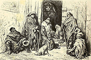 Mendiants dans le Cloitre de la Cathedrale de Barcelone [Beggars in the Cloister of the Cathedral of Barcelona] Page illustration from the book 'Spain' [L'Espagne] by Davillier, Jean Charles, barón, 1823-1883; Doré, Gustave, 1832-1883; Published in Paris, France by Libreria Hachette, in 1874