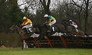 Plumpton, UK. 12th December 2016. <br />  No Comment (White Cap) ridden by  Barry Geraghty clears an early fence before winning he Hepworth Brewery &quot;National Hunt&quot; Novices&acute; Hurdle<br /> &copy; Telephoto Images / Alamy Live News