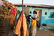 Shanti Adivasi (in white saree), 52, does household chores at home with her family in their housing compound in Manikpur, Chitrakoot, Uttar Pradesh, India on 4th December 2012.  Shanti used to be a wood gatherer, working with her parents since she was 3, and later carrying up to 100 kg of wood walking 12km from the dry jungle hills to her home to repack the wood which sold for 3 rupees per kg. After learning to read and write in an 8 month welfare course, at age 32, she became a reporter, joining Khabar Lahariya newspaper since its establishment in 2002, and making about 9000 rupees per month, supporting her family of 14 as the sole breadwinner. Photo by Suzanne Lee for Marie Claire France.