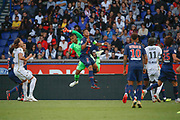 Alphonse Areola (PSG° hurted Thiago Silva (PSG)to catch the ball in the air during the French championship L1 football match between Paris Saint-Germain (PSG) and SCO Angers, on August 25th, 2018 at Parc des Princes Stadium in Paris, France - Photo Stephane Allaman / ProSportsImages / DPPI