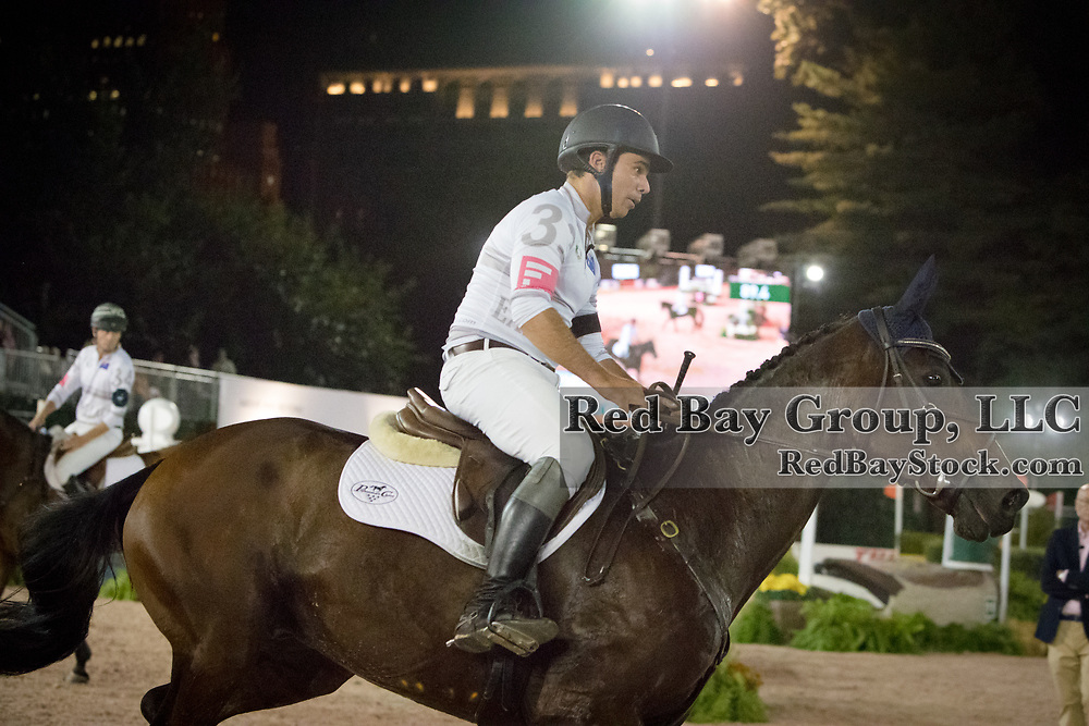 Dom Schramm riding Objection competes in the inaugural U.S. Open $50,000 Arena Eventing competition, presented by The Fite Group Luxury Homes, at the Rolex Central Park Horse Show, where Land Rover was the official vehicle sponsor on September 23, 2017 in New York City.