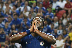SINGAPORE, July 25, 2017  Michy Batshuayi of Chelsea reacts during the International Champions Cup soccer match between Chelsea and Bayern Munich in Singapore's National Stadium, on July 25, 2017. (Credit Image: © Then Chih Wey/Xinhua via ZUMA Wire)