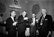 18/11/1964<br /> 11/23/1964<br /> 18 November 1964<br /> <br /> At the National Dairy Publicity Council held in the Shelbourne Hotel Dublin, Picture shows Mr J.C. Nagle(Secretary to the Minister of Agriculture), Mr. M.J. Mullally, Charmian of the Publicity Council, Mr. Charles Haughey Minister for Agriculture and Mr. Pat Power, Chairman Bord Bainne enjoying a glass of Milk after the Press Conference