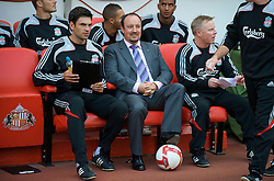 SUNDERLAND, ENGLAND - Saturday, August 16, 2008: Liverpool's manager Rafael Benitez and first team coach Mauricio Pellegrino before the opening Premiership match of the season against Sunderland at the Stadium of Light. (Photo by David Rawcliffe/Propaganda)