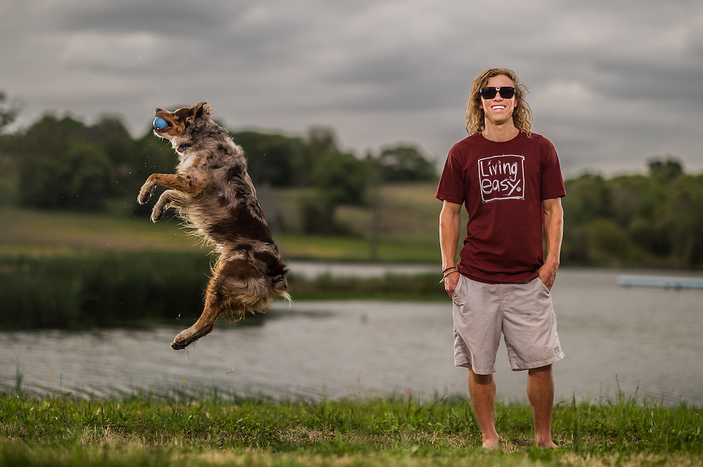 Chris Abadie of Shredtown and his dog Scoot shot for Transworld Wakeboarding in Dallas, Texas.