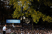 President Barack Obama addresses a crowd of 14,000 on College Green at Ohio University, Oct. 17, 2012.