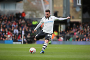 Fulham Striker, Ross McCormack (44) with a free kick and shot at goal during the Sky Bet Championship match between Fulham and Cardiff City at Craven Cottage, London, England on 9 April 2016. Photo by Matthew Redman.