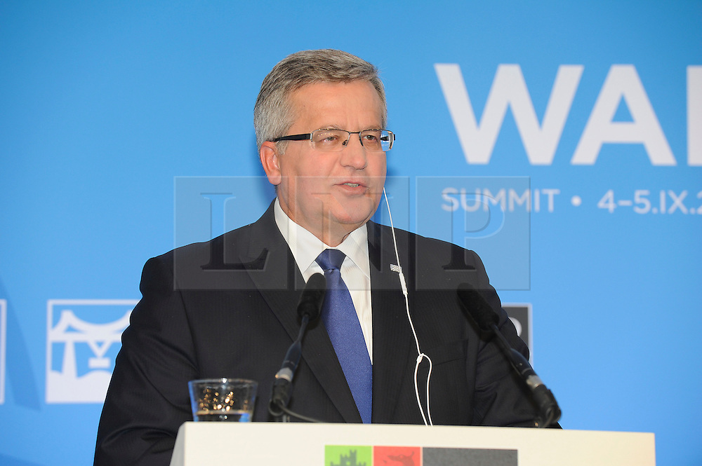 © London News Pictures. 05/09/2014. Newport, UK. <br /> President of Poland Bronislaw Komorowski speaking at the NATO (North Atlantic Treaty Organisation ) summit at Celtic Manor Resort, Newport, South Wales. Photo credit: Jeff Thomas/LNP