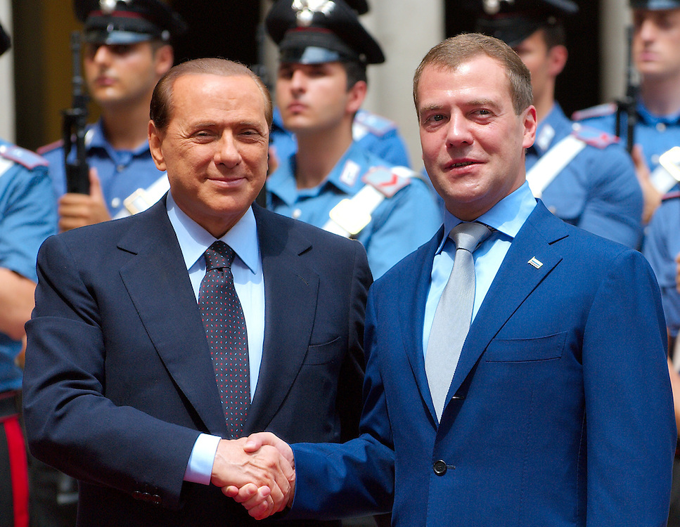 MILAN, ITALY - JULY 23:  &nbsp; Italian Prime Minister Silvio Berlusconi welcomes Russian President Dimitry Medvedev at Palazzo della Provincia on July 23, 2010 in Milan, Italy. Italian Prime Minister Berlusconi and Russian President Medvedev will discuss issues related to Russia's relations with NATO and the EU, energy security, and the development of bilateral trade and economic relations. .***Agreed Fee's Apply To All Image Use***.Marco Secchi /Xianpix. tel +44 (0) 207 1939846. e-mail ms@msecchi.com .<br />  www.marcosecchi.com