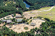 Nederland, Noord-Brabant, Hilvarenbeek, 23-08-2016; Safaripark Beekse Bergen, dierenpark. File van atou's omgeven door giraffen.<br /> Safari park Beekse Bergen, zoo.<br /> aerial photo (additional fee required); <br /> luchtfoto (toeslag op standard tarieven);<br /> copyright foto/photo Siebe Swart