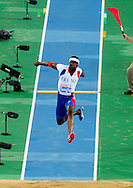 France's Teddy Tamgho competes in the men's triple jump final at the 2010 European Athletics Championships at the Olympic Stadium in Barcelona on July 29, 201