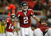 ATLANTA - AUGUST 19:  Quarterback Matt Ryan #2 of the Atlanta Falcons yells an audible during the preseason game against the New England Patriots at the Georgia Dome on August 19, 2010 in Atlanta, Georgia.  (Photo by Mike Zarrilli/Getty Images)