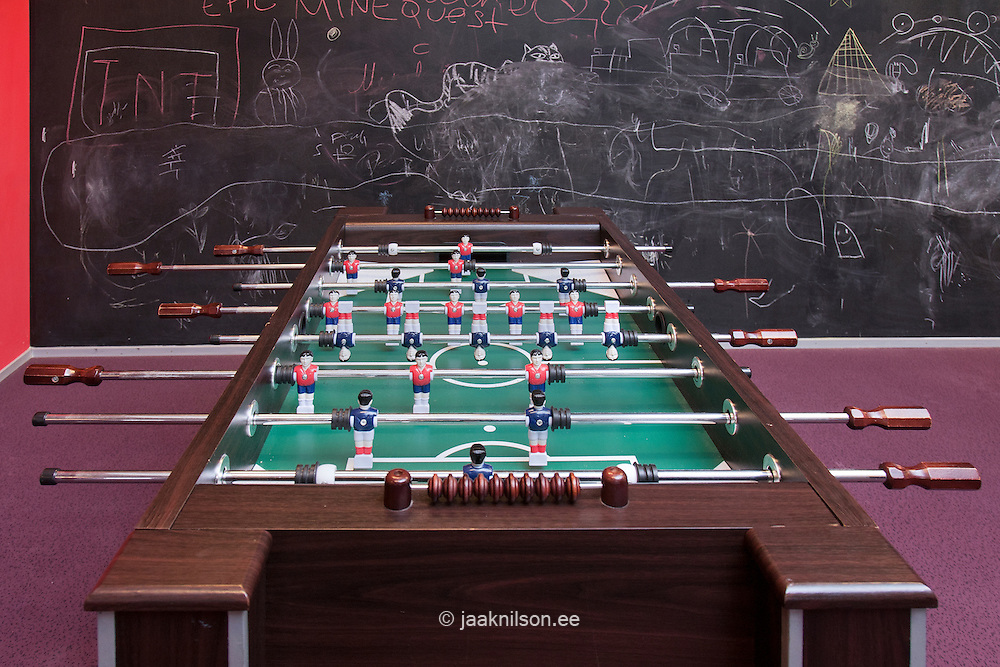 Table football and blackboard for drawing in Viimsi spa hotel games room, Tallinn, Estonia