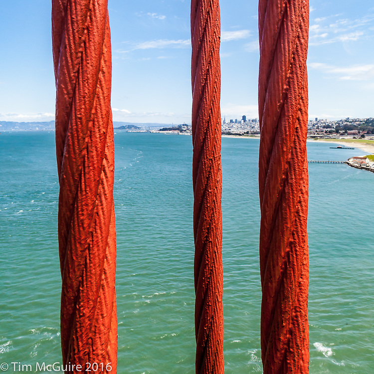 Cables on the Golden Gate Bridge, San Fransisco, CA.