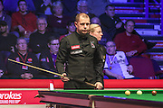 Barry Hawkins contemplates his next shot during the Ladbrokes World Grand Prix at Preston Guildhall, Preston, United Kingdom on 12 February 2017. Photo by Pete Burns.