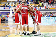Time out in campo team Armani Milano, GERMANI BASKET BRESCIA vs EA7 EMPORIO ARMANI OLIMPIA MILANO, 27^ giornata Campionato Lega Basket Serie A, PalaGeorge Montichiari (BS) 22 aprile 2018 - FOTO Bertani/Ciamillo