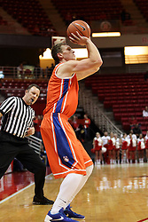 21 November 2015: Colter Lasher(5) takes a 3 point shot while Brad Gaston check his spot. Illinois State Redbirds host the Houston Baptist Huskies at Redbird Arena in Normal Illinois (Photo by Alan Look)