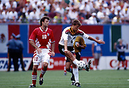 FIFA World Cup - USA 1994<br /> 10.7.1994, Giants Stadium, New York/New Jersey.<br /> World Cup Quarter Final, Bulgaria v Germany.<br /> Guido Buchwald (Germany) v Nasko Sirakov (Bulgaria).