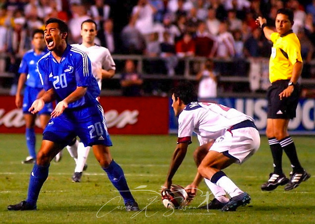 Guatemala soccer player Carlos Ruiz reacts to a play during the second half of the World Cup qualifier match at Legion Field in Birmingham, Ala., March 30, 2005. The U.S. won 2-0. (Photo by Carmen K. Sisson/Cloudybright)