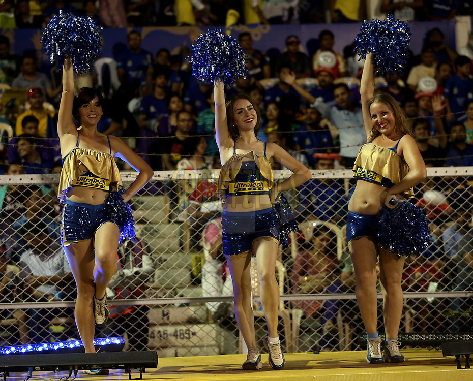 Cheer Girls performs during match 54 of the Pepsi IPL 2015 (Indian Premier League) between The Rajasthan Royals and The Kolkata Knight Riders held at the Brabourne Stadium in Mumbai, India on the 16th May 2015.<br /> <br /> Photo by:  Sandeep Shetty / SPORTZPICS / IPL