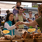 University District outdoor farmers market, Seattle, Washington, fresh garlic, onions, lettuce and flowers<br />