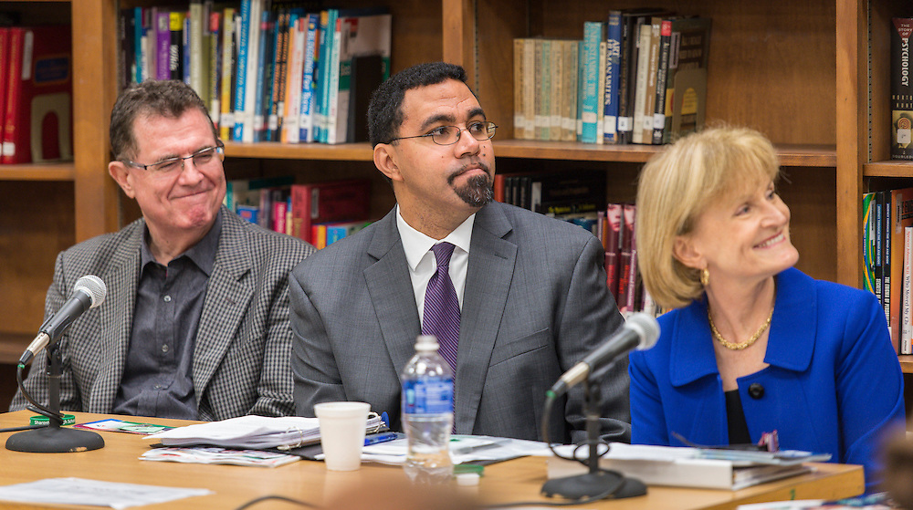 Houston ISD Superintendent Dr. Terry Grier, left, Acting US Secretary of Education John King, center, and Acting US Deputy Secretary of Health and Human Services Mary Wakefield, right, participate in a roundtable discussion at Sharpstown High School, January 15, 2016.