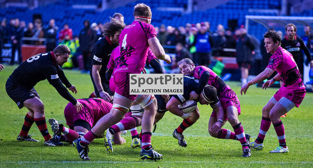 Prop Rory SUTHERLAND makes it a hat trick of tries for Edinburgh front row players. Edinburgh Rugby v London Welsh, European Rugby Challenge Cup, 7 December 2014. (c) [Neil Bain] | SportPixPix.org.uk