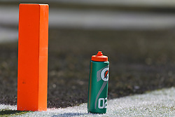 OAKLAND, CA - OCTOBER 21: General view of a Gatorade G Series container next to a pylon on the sidelines before the game between the Oakland Raiders and the Jacksonville Jaguars at O.co Coliseum on October 21, 2012 in Oakland, California. The Oakland Raiders defeated the Jacksonville Jaguars 26-23 in overtime. Photo by Jason O. Watson/Getty Images) *** Local Caption ***