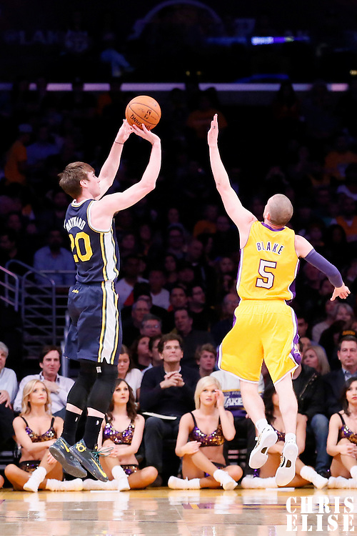 11 February 2014: Utah Jazz shooting guard Gordon Hayward (20) takes a jumpshot over Los Angeles Lakers point guard Steve Blake (5) during the Utah Jazz 96-79 victory over the Los Angeles Lakers at the Staples Center, Los Angeles, California, USA.