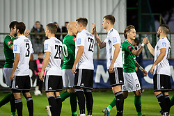 Players of Mura and Olimpija shaking hands during football match between NS Mura and NK Olimpija in 15th Round of Prva liga Telekom Slovenije 2019/20, on November 3, 2019 in Fazanarija Stadium, Murska Sobota, Slovenia. Photo by Blaz Weindorfer / Sportida
