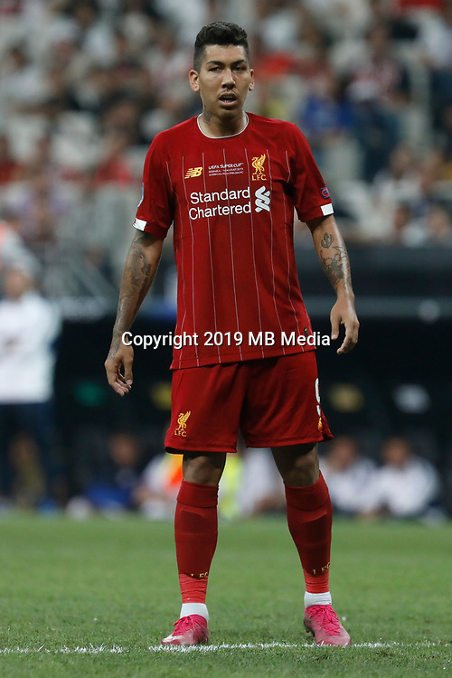 ISTANBUL, TURKEY - AUGUST 14: Roberto Firmino of Liverpool looks on during the UEFA Super Cup match between Liverpool and Chelsea at Vodafone Park on August 14, 2019 in Istanbul, Turkey. (Photo by MB Media/Getty Images)
