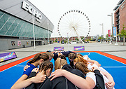 Picture by Allan McKenzie/SWpix.com / www.photosport.nz - 12/07/2018 - Netball - Netball World Cup 2019 One Year to Go - ACC Liverpool, Liverpool, England - Children from netball clubs huddle before warming up.