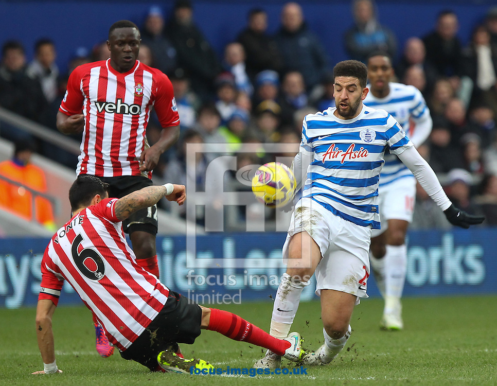 Adel Taarabt of Queens Park Rangers and Jose Fonte of Southampton during the Barclays Premier League match at the Loftus Road Stadium, London<br /> Picture by John Rainford/Focus Images Ltd +44 7506 538356<br /> 07/02/2015
