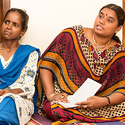 CAPTION: The core activity of Chamkol is the enablement and support of self-help groups (SHGs) in every village and their democratic representation through local Grassroots Federations (GRFs). The overarching body in this structure is the Chiguru Committee, of which inspirational Jayamma H.R. (right) held the presidency until December 2013. LOCATION: Heggotara (village), Kasaba (hobli), Chamrajnagar (district), Karnataka (state), India. INDIVIDUAL(S) PHOTOGRAPHED: Left: Doddamma M.; right: Jayamma H.R.