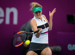 February 13, 2019 - Doha, QATAR - ELINA SVITOLINA of Ukraine in action during her second-round match against Jelena Ostapenko at the 2019 Qatar Total Open WTA Premier tennis tournament. Svitolina won 6:4, 6:4.  (Credit Image: © AFP7 via ZUMA Wire)