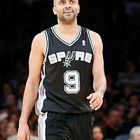 19 March 2014: San Antonio Spurs guard Tony Parker (9) is seen during the San Antonio Spurs 125-109 victory over the Los Angeles Lakers at the Staples Center, Los Angeles, California, USA.