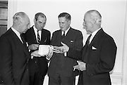 21/09/1963<br /> 09/21/1963<br /> 21 September 1963<br /> Ranks Ireland (Sales) Limited, Sales Conference and Luncheon at the Shelbourne Hotel, Dublin. Picture shows (l-r): Mr R.J. Levis, North Cork Representative of Ranks Ireland (Sales); Ltd.; Mr F.N. Moore, West Cork Representative; Mr. M.B. Stubbs, Director , Ranks Ireland (Sales) Ltd. and Mr C.G. Coughlan, Director and Sales Manager.