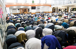 Worshippers during the Eid prayer, which marks the end of Ramadan and the start of Eid, at Leeds Grand Mosque in Yorkshire.