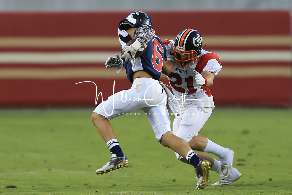 (Photograph by Bill Gerth/ for SVCN/6/24/17) Los Gatos #21 Caden McCloughan in the Charie Wedemeyer All Star Game at Levi Stadium, San Jose CA on 6/24/17. (North 13 South 13)