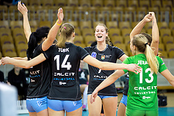 Players of Calcit Ljubljana celebrate during the volleyball match between Calcit Ljubljana and VakifBank Istanbul at 2016 CEV Volleyball Champions League, Women, League Round in Pool B, 1st Leg, on November 26, 2016, in Hala Tivoli, Ljubljana, Slovenia.  (Photo by Matic Klansek Velej / Sportida)