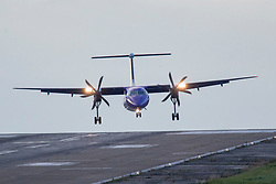 © Licensed to London News Pictures. 13/09/2017. Leeds UK. A Flybe aircraft comes in to land sideways this morning due to strong winds from Storm Aileen at Englands highest airport, Leeds Bradford Airport. Photo credit: Andrew McCaren/LNP