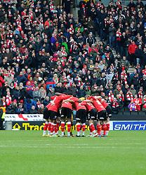 Bristol City players in a huddle  - Photo mandatory by-line: Joe Meredith/JMP - Mobile: 07966 386802 - 07/02/2015 - SPORT - Football - Milton Keynes - Stadium MK - MK Dons v Bristol City - Sky Bet League One
