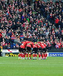 Bristol City players in a huddle  - Photo mandatory by-line: Joe Meredith/JMP - Mobile: 07966 386802 - 07/02/2015 - SPORT - Football - Milton Keynes - Stadium MK - MK Dons v Bristol City - Sky Bet League One