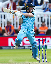 Eoin Morgan of England  plays an attacking shot but is caught - Mandatory by-line: Robbie Stephenson/JMP - 14/07/2019 - CRICKET - Lords - London, England - England v New Zealand - ICC Cricket World Cup 2019 - Final