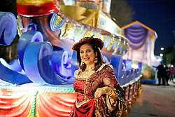 29 January 2016. New Orleans, Louisiana.<br /> Royalty prepare for The Krewe of Cleopatra to kick off the main parading season of Mardi Gras in New Orleans with floats filled with riders dispensing beads and throws, marching bands and dance troupes. Families line the streets Uptown to cheer on Cleopatra - 'Throw me something Mister!'<br /> Photo©; Charlie Varley/varleypix.com