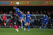 AFC Wimbledon midfielder Anthony Wordsworth (40) winning flick on (header) during the EFL Sky Bet League 1 match between AFC Wimbledon and Peterborough United at the Cherry Red Records Stadium, Kingston, England on 18 January 2020.